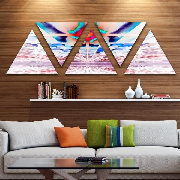 Designart 'Cosmic Horizons Apocalypse' Contemporary Wall Art Triangle Canvas - 5 Panels