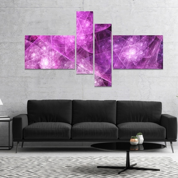 Designart 'Pink Rotating Polyhedron' Abstract Canvas Art Print