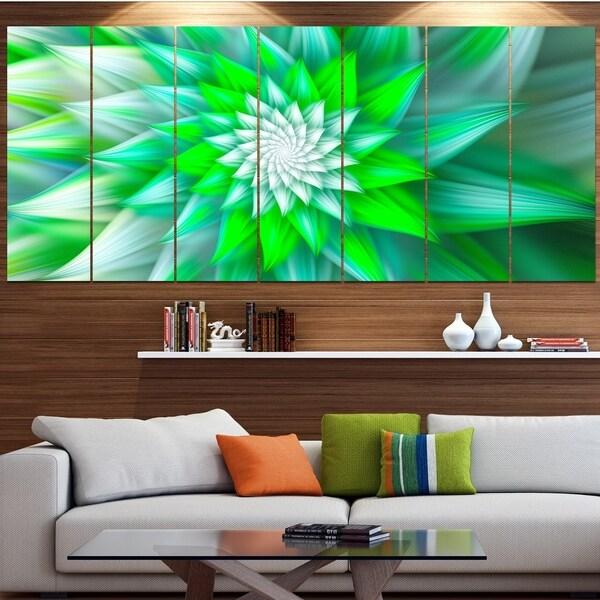 Designart 'Large Green Alien Fractal Flower' Modern Floral Artwork