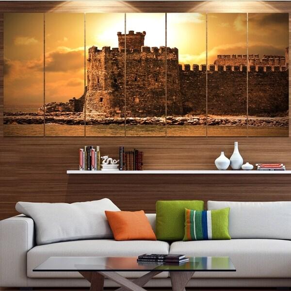 Designart 'Old Castle at Sunset' Landscape Canvas Wall Artwork