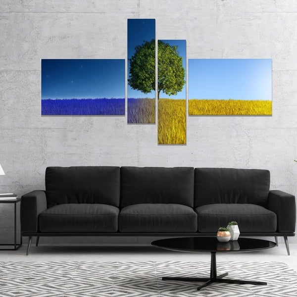 Designart 'Tree in Night and Day' Landscape Canvas Art Print