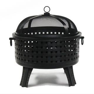 ALEKO Black Steel 25 Inches Fire Pit with Log Grate and Poker