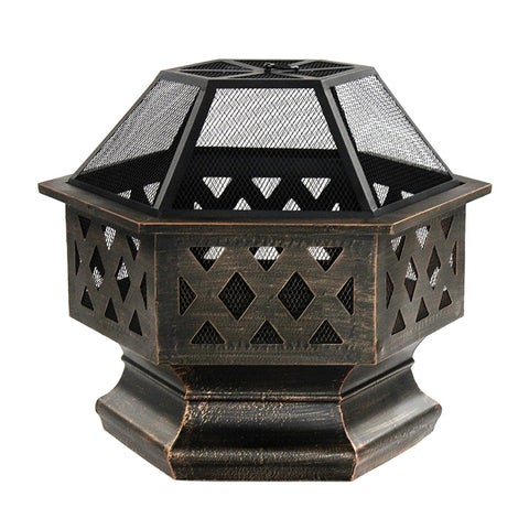 ALEKO Bronze Hex Shaped Steel 24 Inch Fire Pit with Log Grate and Lid