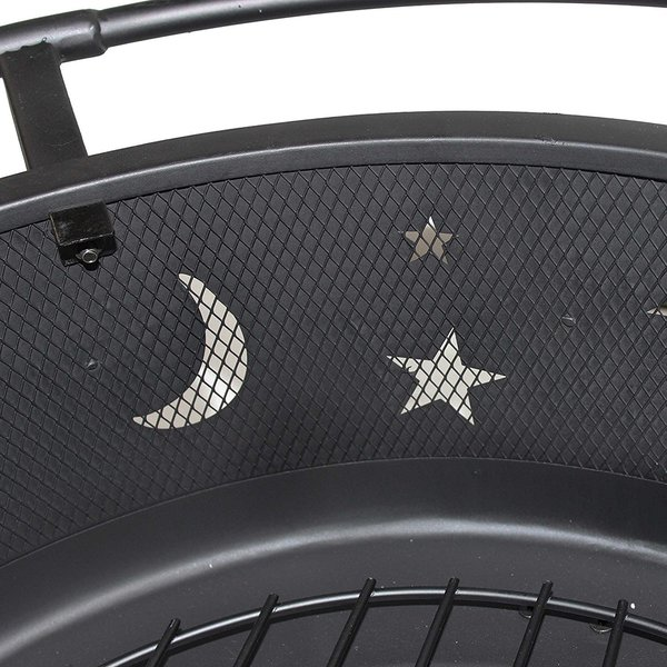 ALEKO Black Steel Moon and Star Fire Pit with with Poker 30 Inches