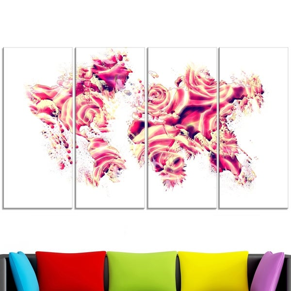 Design Art 'Roses of the World' Map Canvas Art Print
