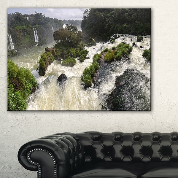 Waterfall Iguacu Falls in Brazil - Landscape Art Canvas Print