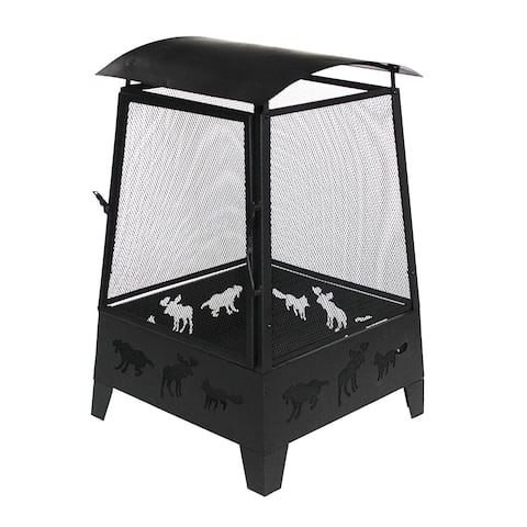 ALEKO Fire Pit 32 Inch with Screen Mesh and Cutting Animal Design