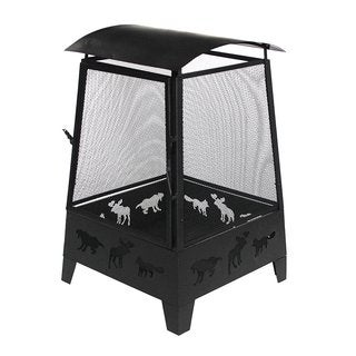 ALEKO Fire Pit 32 Inch with Screen Mesh and Laser Cut Animal Design