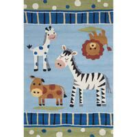 "Hand-hooked Blue Friendly Safari Animal Kids Rug (3'6 x 5'6) - 3'6"" x 5'6"""