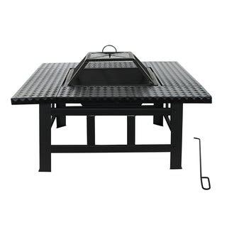 ALEKO Steel Table Top Black Fire Pit Kit with Lid and Poker