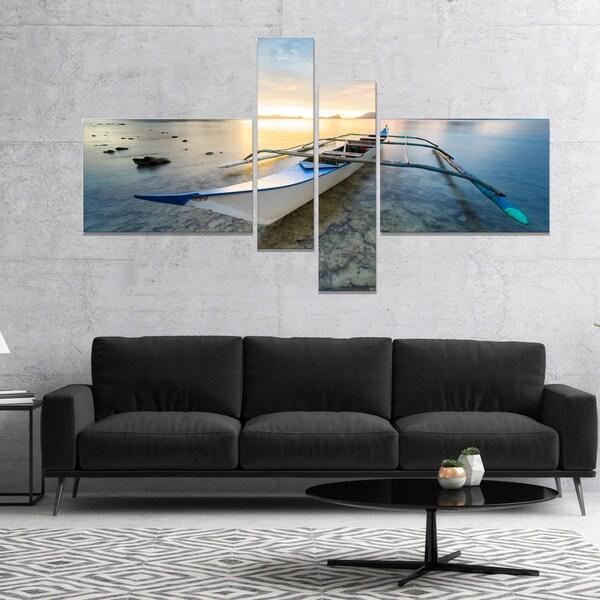 Designart 'Boat Docked at Beautiful Sunset' Seashore Canvas Art Print