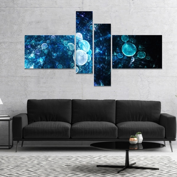 Designart 'Blue Spherical Water Drops' Floral Canvas Art Print
