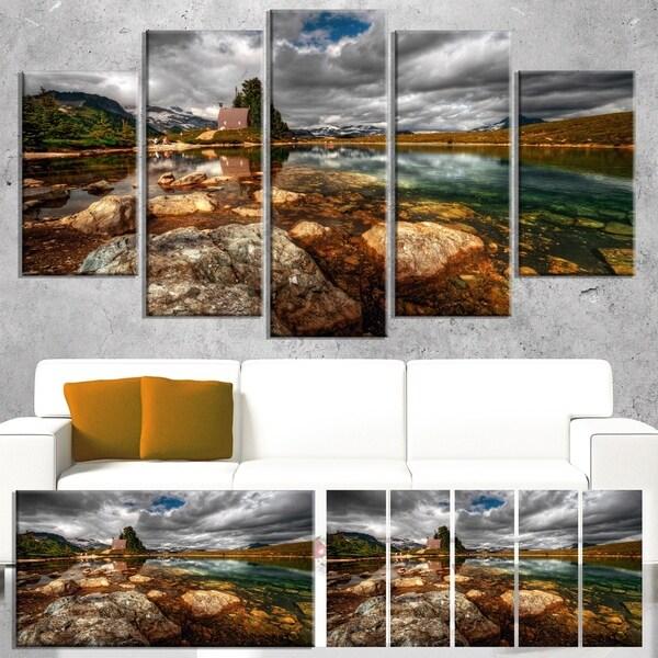 Designart 'Beautiful Clear Mountain Lake' Landscape Artwork Canvas Print