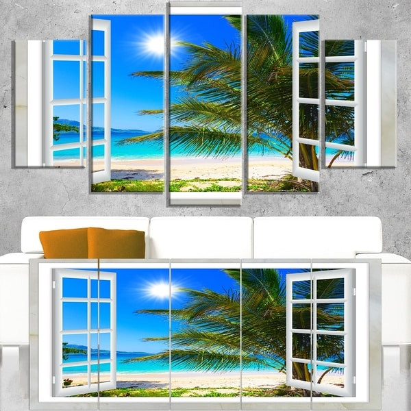 Window Open to Beach with Palm - Extra Large Seashore Canvas Art