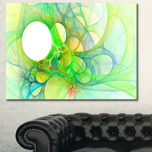 Designart 'Fractal Angel Wings in Green' Abstract Wall Art Canvas