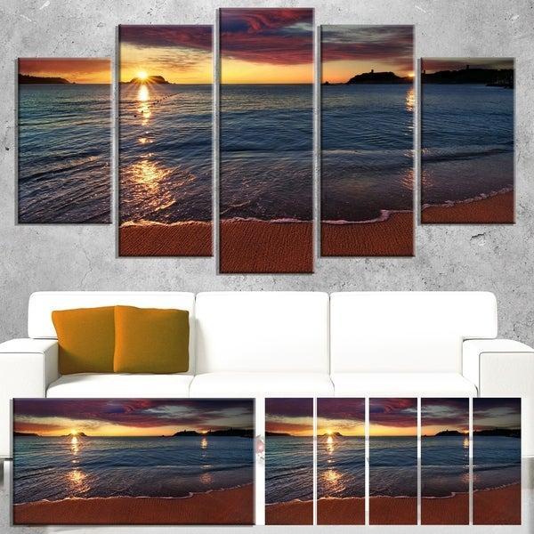 Designart 'Beautiful Clear Seashore at Sunset' Seashore Art Print on Canvas