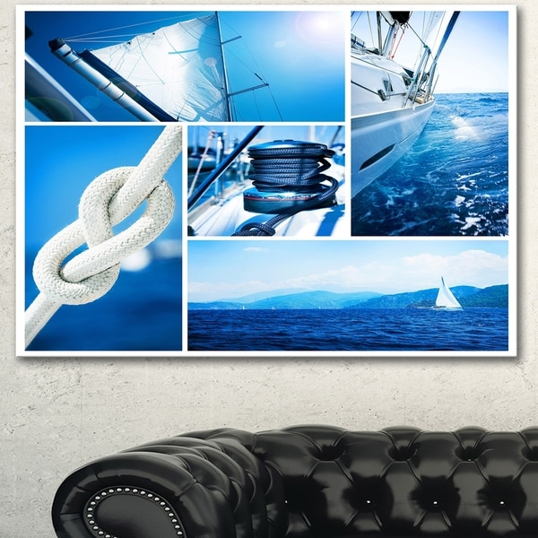 Designart 'Sailing Yacht in Blue Sea Collage' Large Seashore Canvas Wall Art