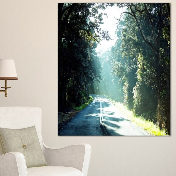 Designart 'Road in the Jungle At Sunset' Landscape Art Print Canvas