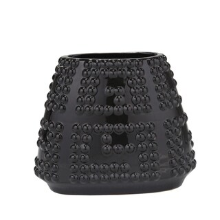 DECORATIVE RAISED BEAD CERAMIC VASE, BLACK