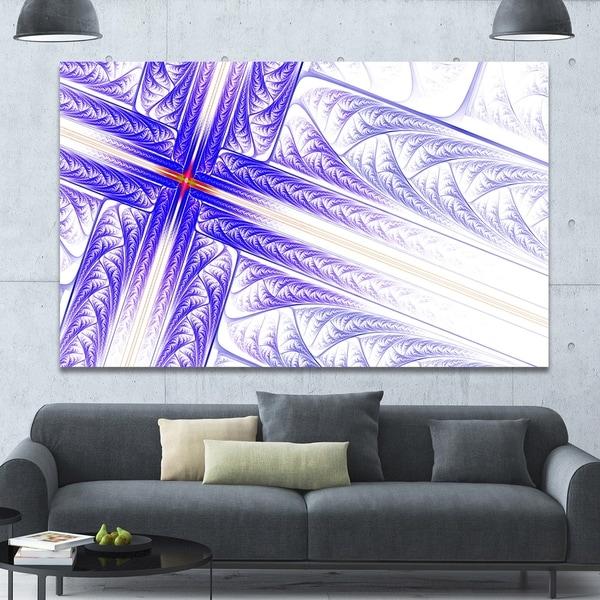 Designart 'Blue Fractal Cross Design' Large Glossy Canvas Art Print