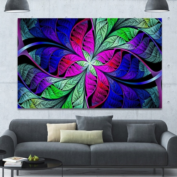 Designart 'Multi-Color Stained Glass Texture' Abstract Wall Art on Canvas