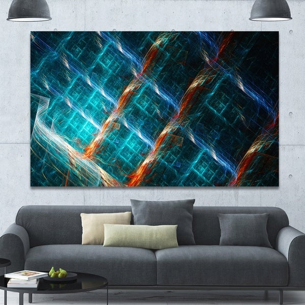 Designart 'Glowing Green Fractal Grill' Extra Large Abstract Art on Canvas