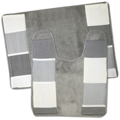 Modern Line 2 Piece Bath and Contour Rug Set- Grey