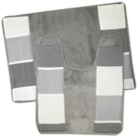 Modern Line Grey 2-piece Bath and Contour Rug Set