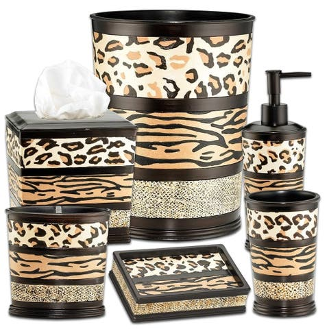 Sweet Home Collection Exotic Animal Print 6 Piece Bathroom Accessory Set