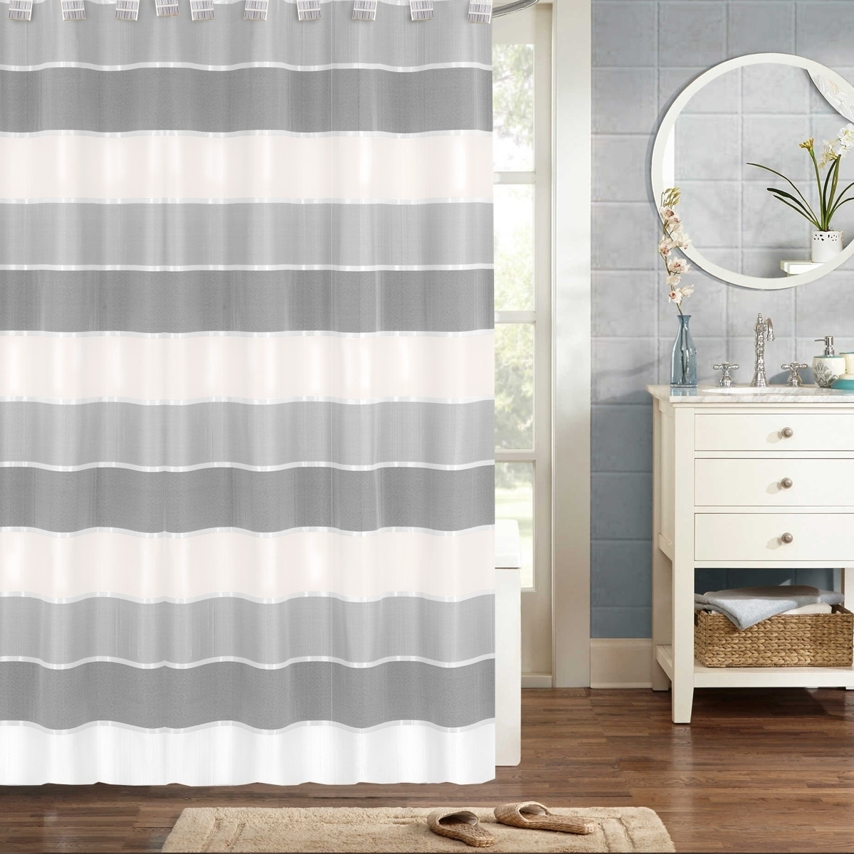 Modern Striped Shower Curtain 70 X72 Grey