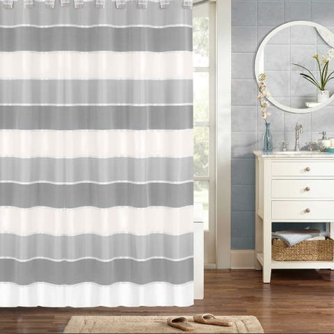 Modern Striped Shower Curtain and Hooks Set- Grey