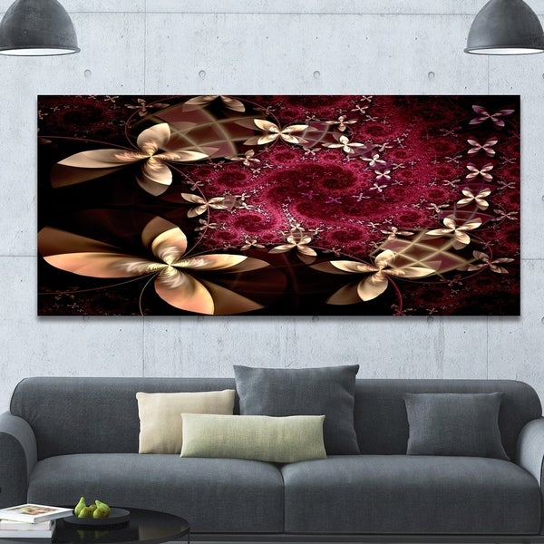 Designart 'Yellow and Red Fractal Flower Pattern' Abstract Wall Art Canvas