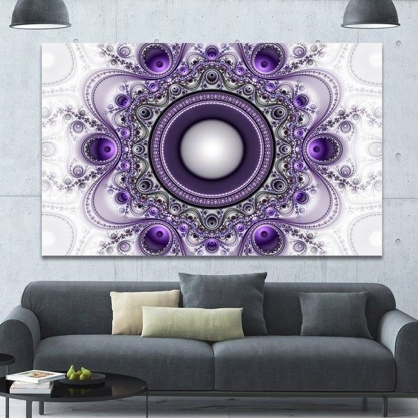 Designart 'Purple Fractal Pattern with Circles' Large Wall Art on Canvas