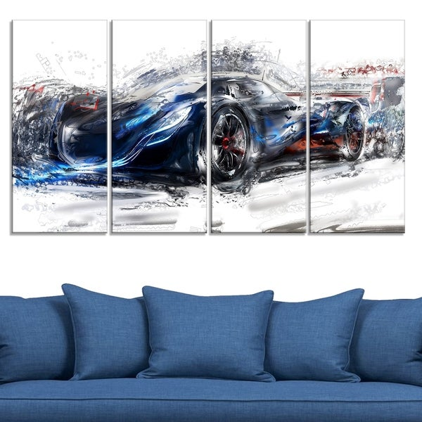Black Speedster Car Large Gallery Wrapped Canvas
