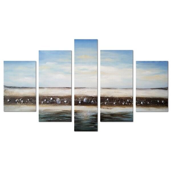 Modern Beach Seashell' 5-piece Hand-painted Oil on Canvas Art