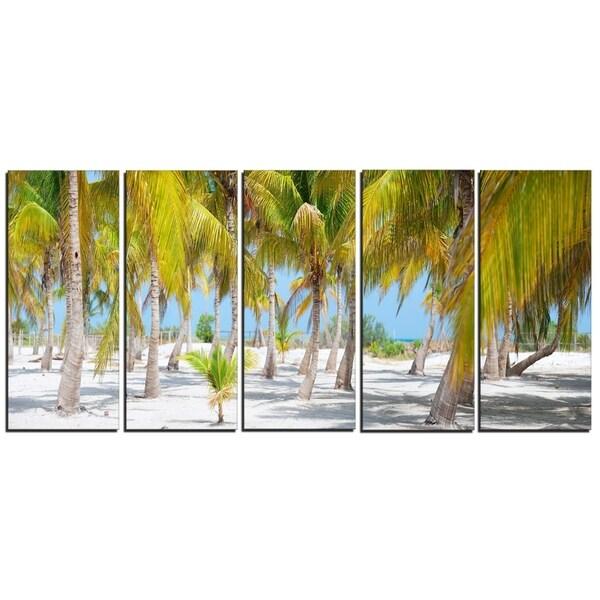 Designart - Palm Trees - 5 Piece Landscape Photography Canvas Art Print