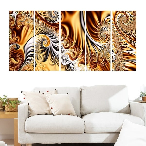 Abstract 'Gold & Silver Ribbons' Canvas Art