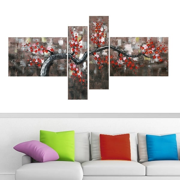 Oversized 'Floral' 4-panel Gallery-wrapped Canvas Print