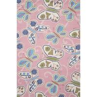 Hand-hooked Pink Happy Butterfly Kids Rug (3'6 x 5'6) - 3'6 x 5'6