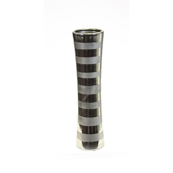 Shop Horizontal Band Ceramic Vase Silver Free Shipping Today