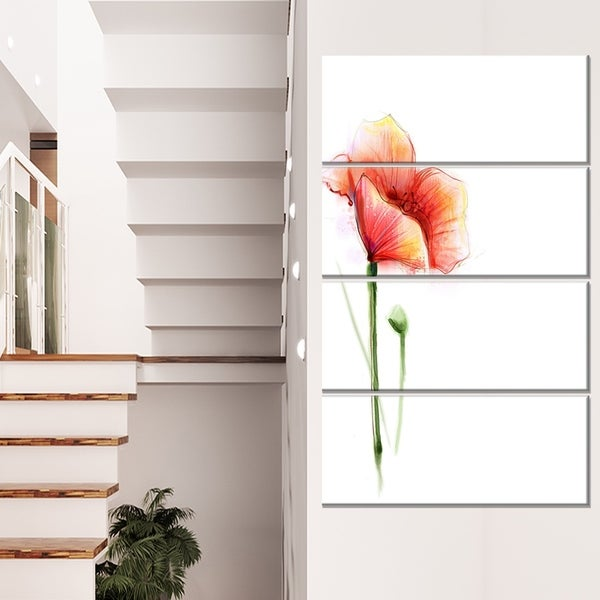 Red Poppy Flower with Large Petals - Large Flower Canvas Wall Art
