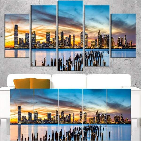 Jersey City Panorama at Sunset - Cityscape Canvas print