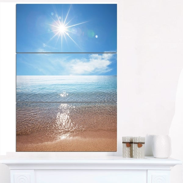 Serene Seascape with Bright Sun - Modern Beach Canvas Art Print