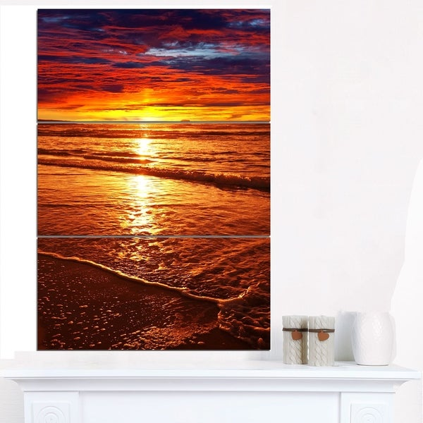 Colorful Sunset Mirrored in Waters - Modern Beach Canvas Art Print