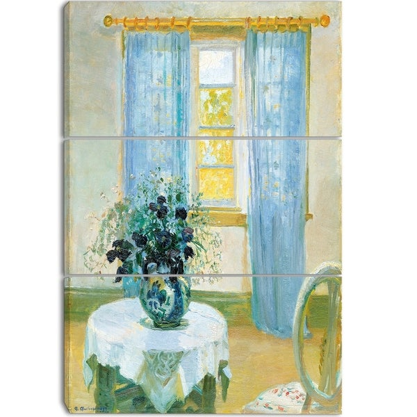 Design Art 'Anna Ancher - Interior with Clematis' Canvas Art Print - 32Wx26H Inches - 3 Panels