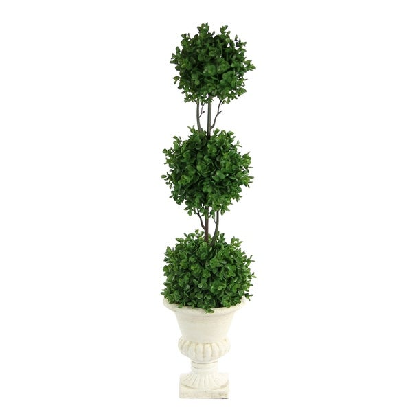 """33"""" Tri Ball Eucalyptus Topiary with Urn Plaster Potted Plant, Green - White"""