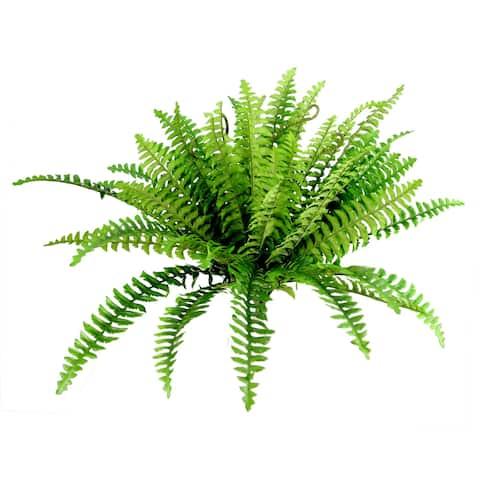 42 Leaves Artificial Greenery Boston Fern Bush, Dark Green