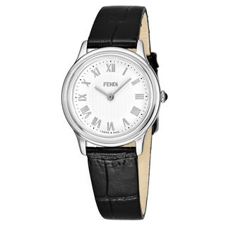 Fendi Women's F250034011 'Classic Round' White Dial Black Leather Strap Swiss Quartz Watch