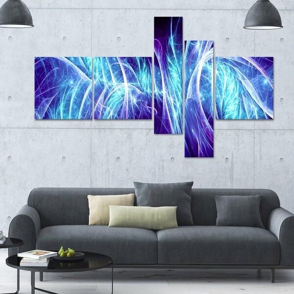 Designart 'Blue Electricity' 63x36 Contemporary Canvas Art - 5 Panels