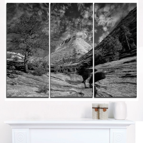Layers of Red Rock Gray with Clouds - Landscape Art Canvas Print